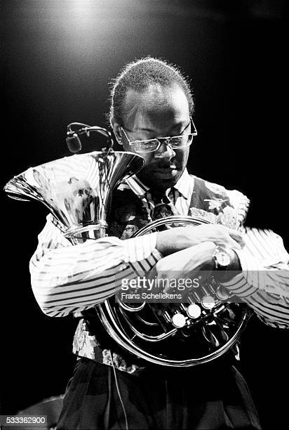 Mark Taylor, horn, performs on February 15th 1992 at the BIM huis in Amsterdam, the Netherlands.