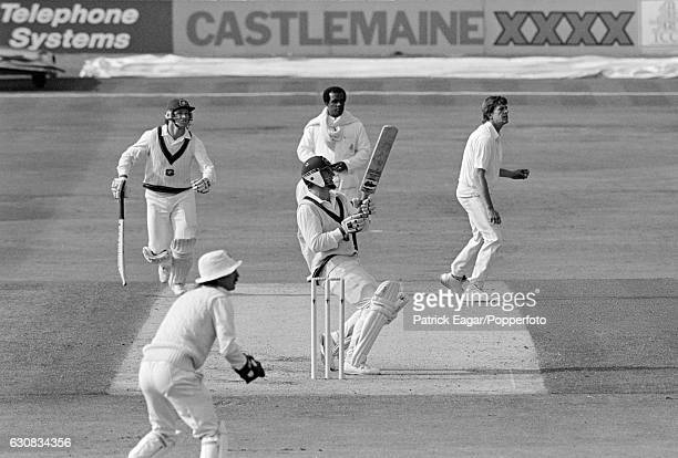 Mark Taylor of Australia hooks Phil Newport of England during his innings of 136 in the 1st Test match between England and Australia at Headingley...