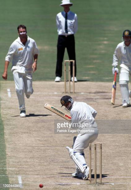 Mark Taylor of Australia is bowled for 52 runs by Angus Fraser of England during the 5th Test match between Australia and England at the WACA Perth...