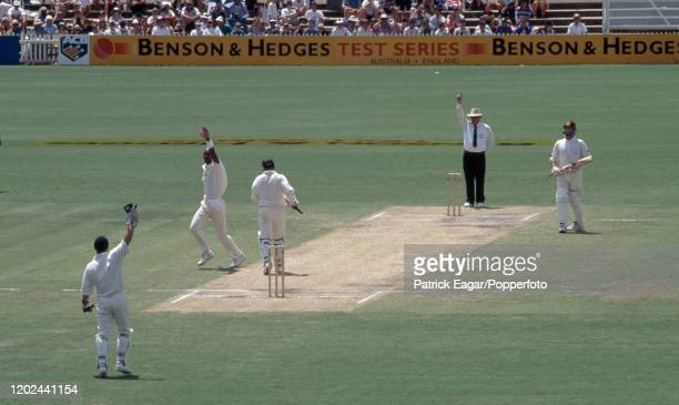 Mark Taylor of Australia is out LBW for 90 runs to Chris Lewis of England during the 4th Test match between Australia and England at the Adelaide...