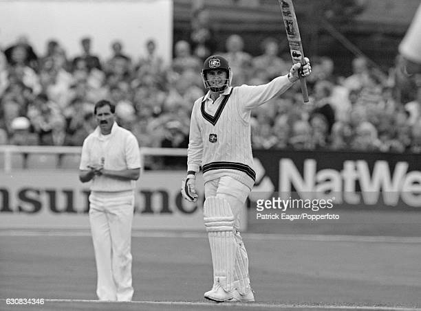 Mark Taylor of Australia makes his first Test century during his innings of 136 in the 1st Test match between England and Australia at Headingley...