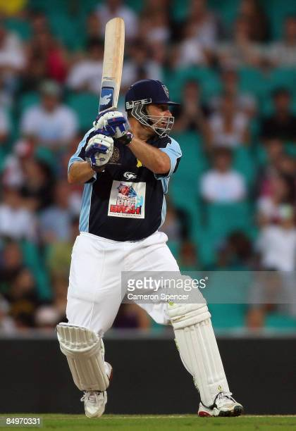Mark Taylor of Talylor's XI plays a shot during the Australia's Big Bash Twenty20 Victorian Bushfire Appeal charity match at the Sydney Cricket...