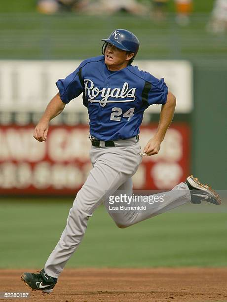 Mark Teahan of the Kansas City Royals runs the bases during a Spring Training game against the Texas Rangers on March 4 2005 at Surprise Stadium in...