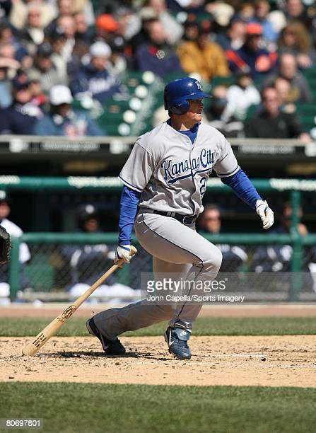 Mark Teahen of the Kansas City Royals bats during a game against the Detroit Tigers on April 2 2008 in Detroit Michigan