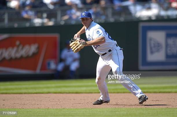 Mark Teahen of the Kansas City Royals fields during the game against the Minnesota Twins at Kauffman Stadium in Kansas City Missouri on April 27 2006...