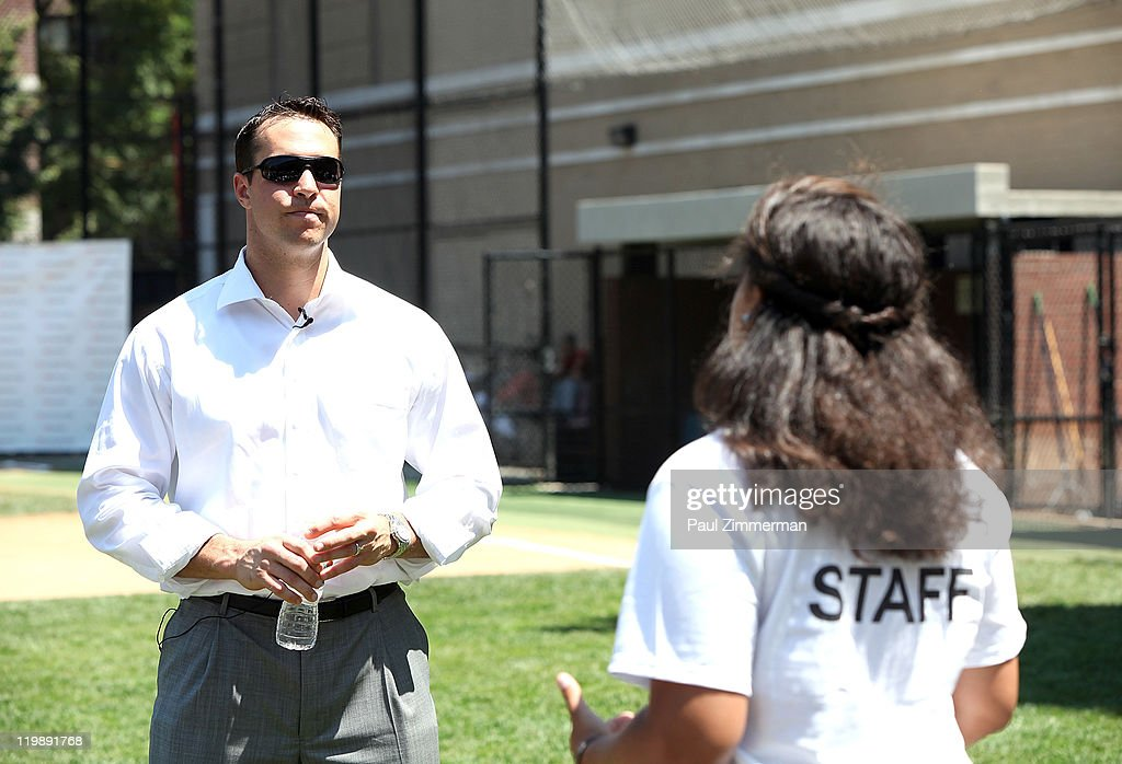 Mark Teixeira attends the announcement of Walmart's donation to the Harlem RBI Youth Employment Program and DREAM Charter School at the Field of Dreams on July 26, 2011 in New York City.