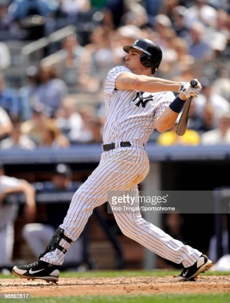 Mark Teixeira of the New York Yankees bats against the Chicago White Sox at Yankee Stadium on May 01 2010 in the Bronx borough of Manhattan The White...