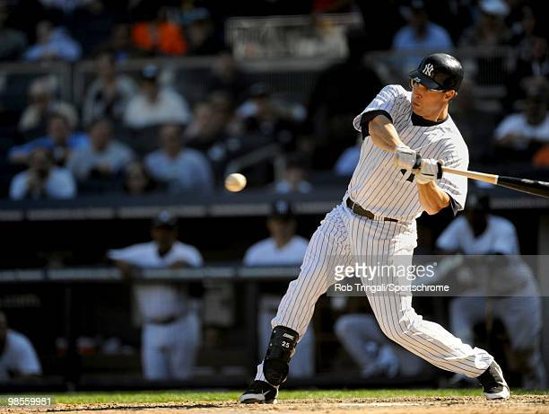 Mark Teixeira of the New York Yankees bats against the Los Angeles Angels of Anaheim at Yankee Stadium on April 14 2010 in the Bronx borough of...