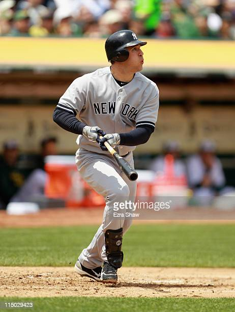Mark Teixeira of the New York Yankees bats against the Oakland Athletics at OaklandAlameda County Coliseum on May 30 2011 in Oakland California