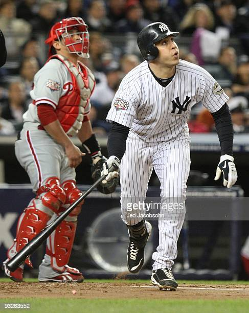 Mark Teixeira of the New York Yankees bats against the Philadelphia Phillies in Game Six of the 2009 MLB World Series at Yankee Stadium on November 4...