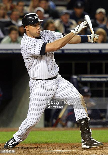 Mark Teixeira of the New York Yankees bats against the Washington Nationals on June 17 2009 at Yankee Stadium in the Bronx borough of New York City