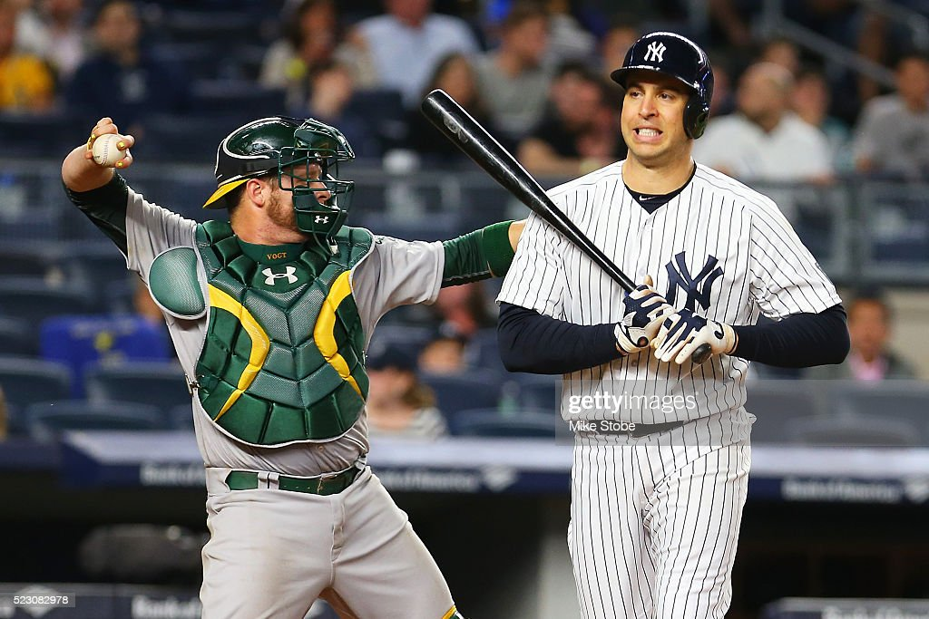 Mark Teixeira #25 of the New York Yankees reacts after striking out in the sixth inning against the Oakland Athletics at Yankee Stadium on April 21, 2016 in the Bronx borough of New York City.