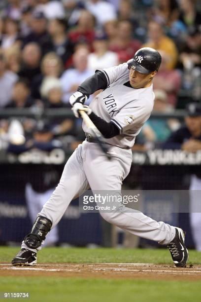 Mark Teixeira of the New York Yankees swings at the pitch during the game against the Seattle Mariners on September 18 2009 at Safeco Field in...