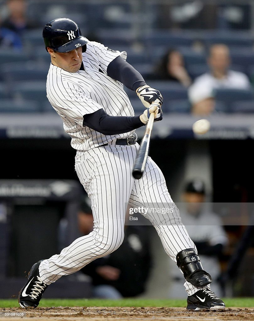 Mark Teixeira #25 of the New York Yankees takes his turn at bat against the Chicago White Sox at Yankee Stadium on May 13, 2016 in the Bronx borough of New York City.