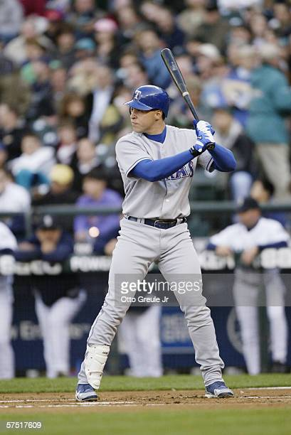 Mark Teixeira of the Texas Rangers bats against the Seattle Mariners on April 18 2006 at Safeco Field in Seattle Washington The Rangers defeated the...