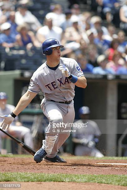 Mark Teixeira of the Texas Rangers bats during a game against the Kansas City Royals at Kauffman Stadium in Kansas City Mo on June 4 2005 The Rangers...