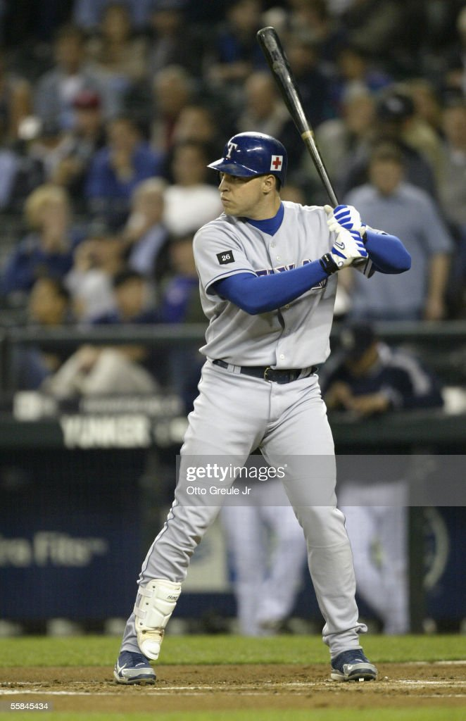 Mark Teixeira #23 of the Texas Rangers stands ready at bat during the game against the Seattle Mariners on September 28 2005 at Safeco Field in Seattle Washington. The Rangers won 7-3.