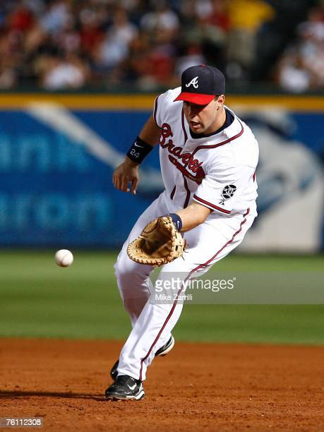 Mark Teixiera of the Atlanta Braves catches a ground ball in the sixth inning during the game against the San Francisco Giants on August 14 2007 at...