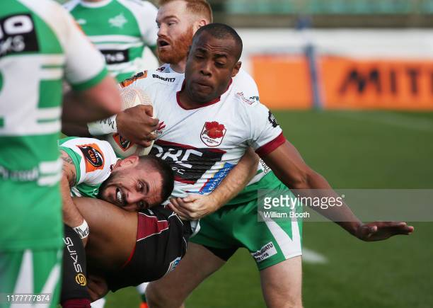 Mark Telea of North Harbour is tackled during the round 8 Mitre 10 Cup match between Manawatu and North Harbour at Central Energy Trust Arena on...