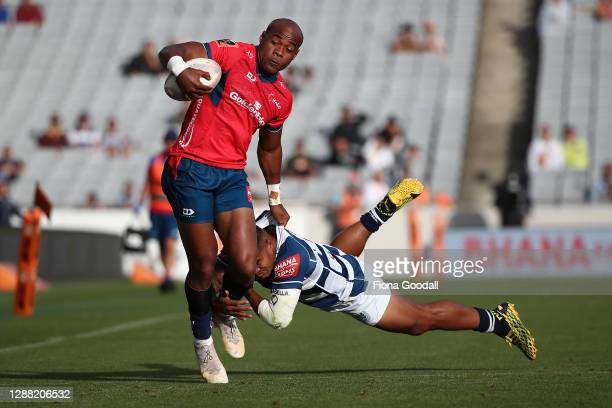 Mark Telea of Tasman is tackled by Tumua Manu of Auckland during the Mitre 10 Cup Final between Auckland and Tasman at Eden Park on November 28, 2020...
