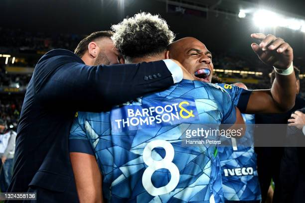 Mark Telea of the Blues celebrates with Hoskins Sotutu of the Blues after winning the Super Rugby Trans-Tasman Final match between the Blues and the...