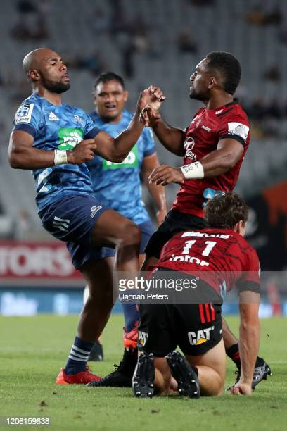 Mark Telea of the Blues fights with Sevu Reece of the Crusaders during the round 3 Super Rugby match between the Blues and the Crusaders at Eden Park...