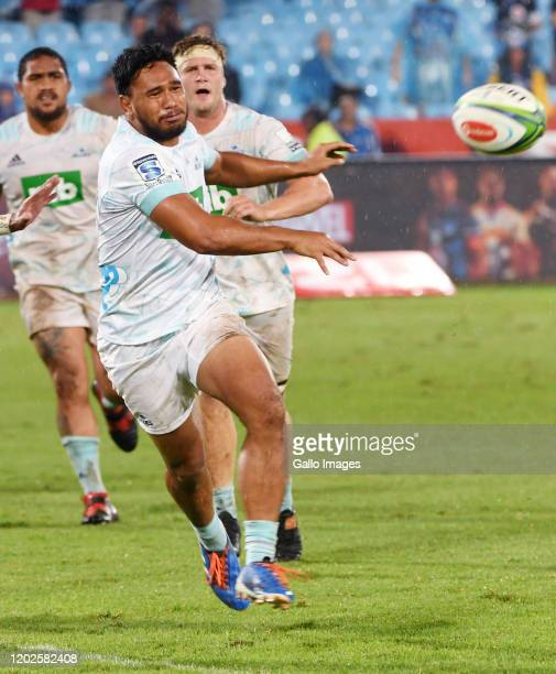 Mark Telea of the Blues passes the ball during the Super Rugby match between Vodacom Bulls and Blues at Loftus Versfeld on February 22, 2020 in...