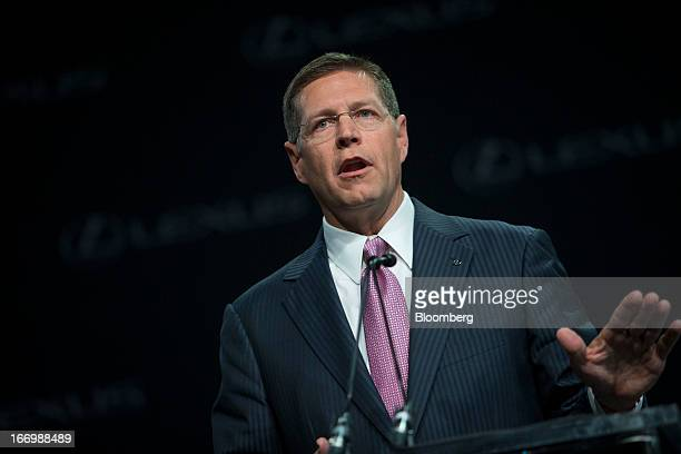 Mark Templin managing officer of Toyota Motor Corp and executive vice president of Lexus International speaks during a news conference in New York US...