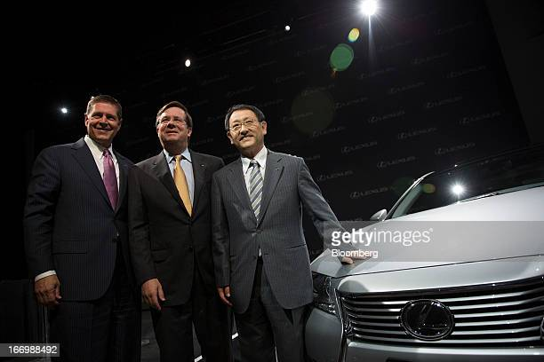 Mark Templin managing officer of Toyota Motor Corp and executive vice president of Lexus International from left Jim Lentz president and chief...