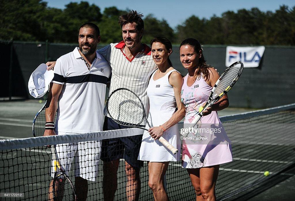 Mark Tevis, Marion Bartoli and Kiki Hajkova attend The Daily Summer's celebration of Marion Bartoli's new LOVE FILA collection at Hampton Racquet on June 18, 2016 in East Hampton, New York.