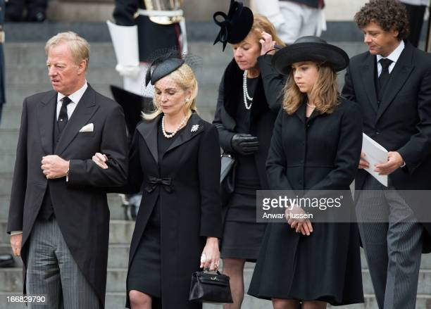 Mark Thatcher Sarah Thatcher Carol Thatcher Amanda Thatcher and Marco Grass attend the funeral of Margaret Thatcher at St Paul's Cathedral on April...