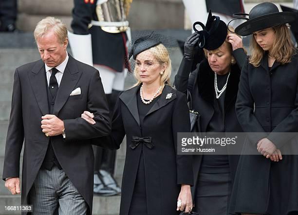 Mark Thatcher Sarah Thatcher Carol Thatcher and Amanda Thatcher leave the ceremonial funeral service of former British Prime Minister Margaret...