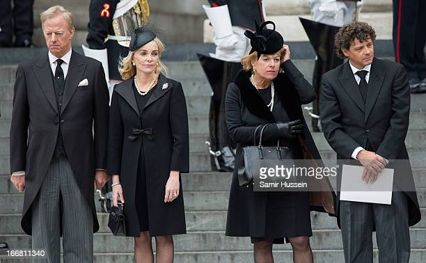 Mark Thatcher Sarah Thatcher Carol Thatcher and Marco Grass leave the ceremonial funeral service of former British Prime Minister Margaret Thatcher...