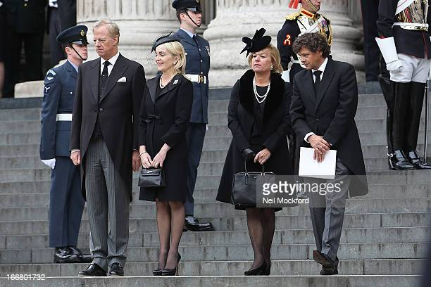 Mark Thatcher Sarah Thatcher Carol Thatcher and Marco Grass seen attending Baroness Thatcher's Funeral at St Paul's Cathedral on April 17 2013 in...