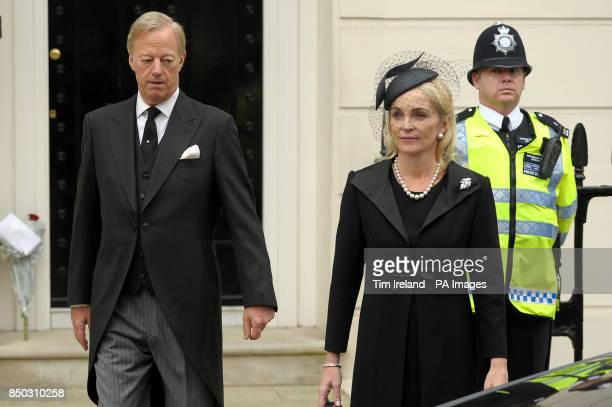 Mark Thatcher with his wife Sarah leave the home of Baroness Thatcher in Chester Square Belgravia on their way to her funeral service at St Paul's...