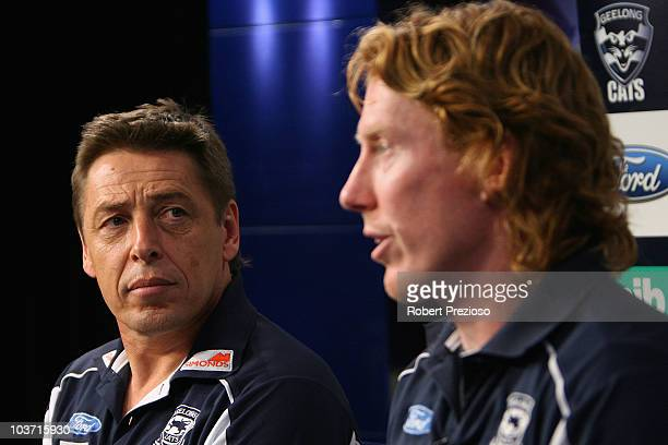 Mark Thompson and Cameron Ling of the Cats speak to the media during a Geelong Cats AFL media session at Fox Sports Studio on August 30, 2010 in...