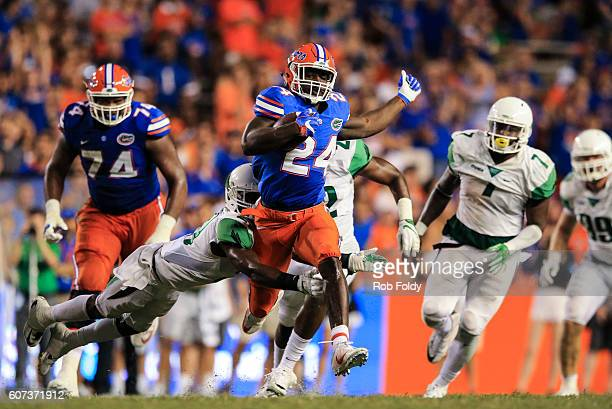 Mark Thompson of the Florida Gators in action during the second half of the game against the North Texas Mean Green at Ben Hill Griffin Stadium on...