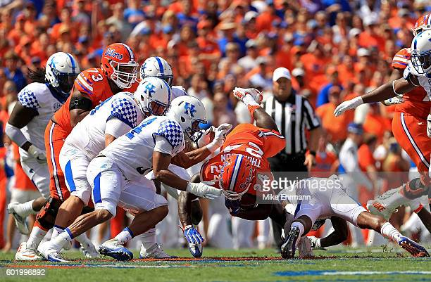 Mark Thompson of the Florida Gators rushes during a game against the Kentucky Wildcats at Ben Hill Griffin Stadium on September 10 2016 in...