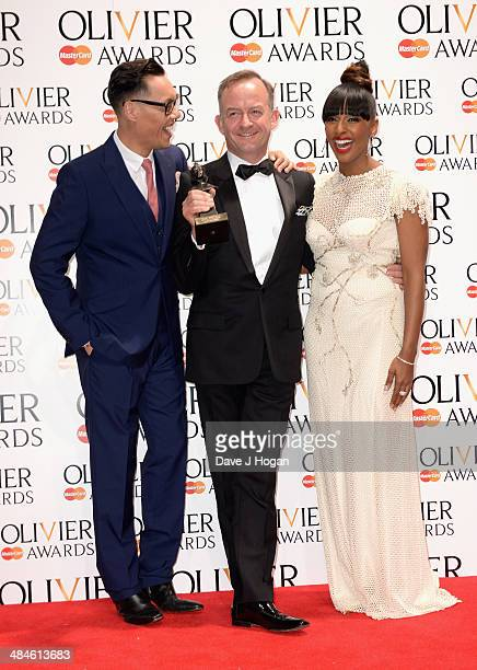 Mark Thompson with his award for Best Costume Design for Charlie and the Chocolate Factory with award winners Gok Wan and Alexandra Burke during the...