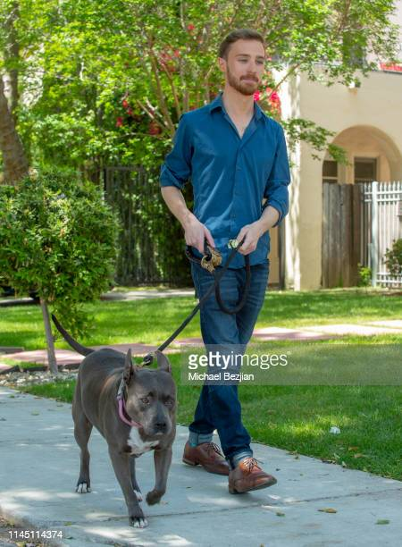 Mark Thurner and Stitch the dog using Kronez Artisan Pet Products at Giveback Day at TAP The Artists Project on April 25 2019 in Los Angeles...