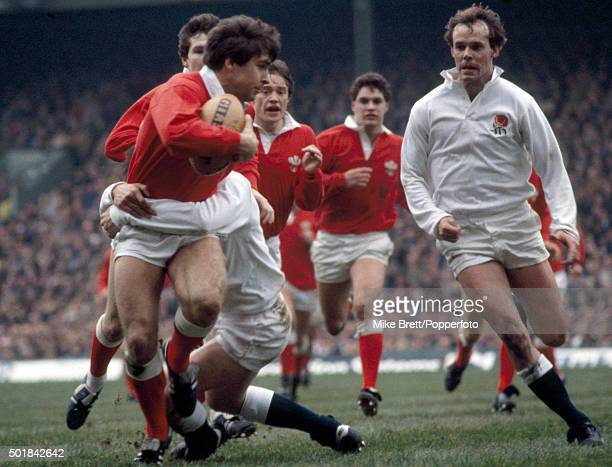 Mark Titley in action for Wales against England during the Rugby Union Five Nations Championship at Twickenham in London on 17th March 1984 Clive...