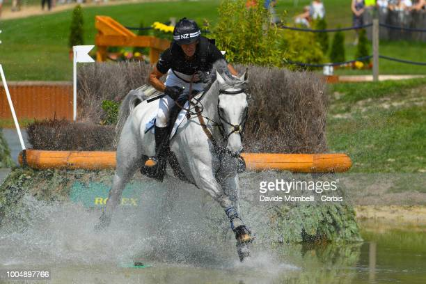 Mark Todd of New Zealand riding Kiltubrid Rhapsody during the obstacle in the water of the Cross Country test DHLPrize in the park of the CHIO of...
