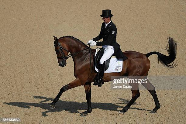 Mark Todd of New Zealand riding Leonidas II competes in the Individual Dressage event on Day 1 of the Rio 2016 Olympic Games at the Olympic...