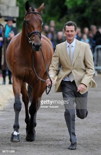 Mark Todd of New Zealand takes his horse through the first horse inspection at Badminton Horse Trials on April 29, 2010 in Badminton, England