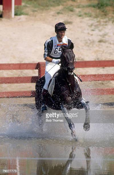 Mark Todd pictured in gold medal winning action riding his horse 'Charisma' for New Zealand in the Mixed Three-Day event, Individual at the 1988...
