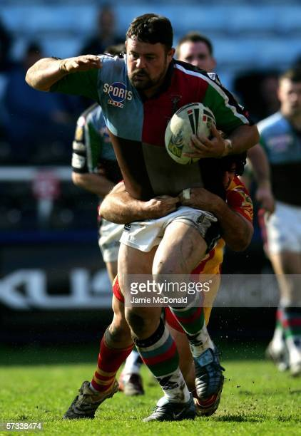 Mark Tookey of Quins drives forward during the Engage Super League match between Harlequins RL and Catalans Dragons at the Twickenham Stoop on April...