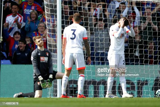 Mark Travers after teammate Jack Simpson of Bournemouth puts past him to make the score 30 during the Premier League match between Crystal Palace and...