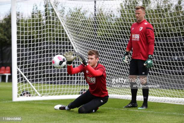 Mark Travers and Artur Boruc of Bournemouth during first preseason training session at Vitality Stadium on July 01 2019 in Bournemouth England