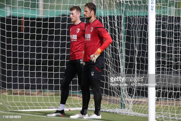 Mark Travers and Asmir Begovic of Bournemouth during a preseason training session at La Manga Club on July 12 2019 in Cartagena Spain