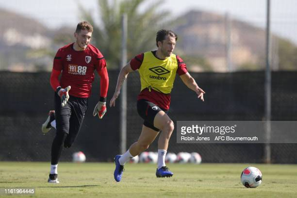 Mark Travers and Harry Arter of Bournemouth during a preseason training session at La Manga Club on July 14 2019 in Cartagena Spain